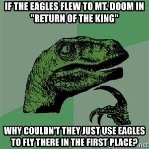 """Philosoraptor - If the eagles flew to Mt. Doom in """"Return of the king"""" Why couldn't they just use eagles to fly there in the first place?"""