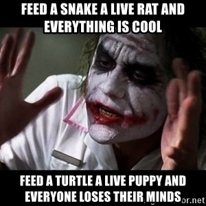 joker mind loss - Feed a snake a live rat and everything is cool Feed a turtle a live puppy and everyone loses their minds