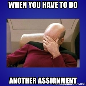 Picard facepalm  - When you have to do another assignment