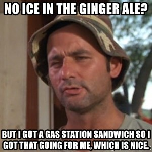 So I got that going on for me, which is nice - No ice in the ginger ale? But I got a gas station sandwich so I got that going for me, which is nice.