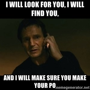 liam neeson taken - i will look for you, I will find you,  and I will make sure you make your Po