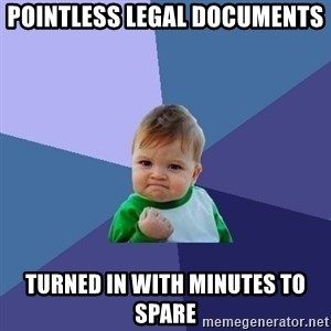 Success Kid - pointless legal documents turned in with minutes to spare