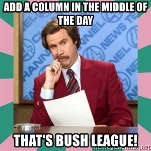 anchorman - Add a column in the middle of the day That's bush league!