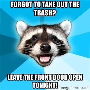 Lame Pun Coon - Forgot to take out the trash? leave the front door open tonight!