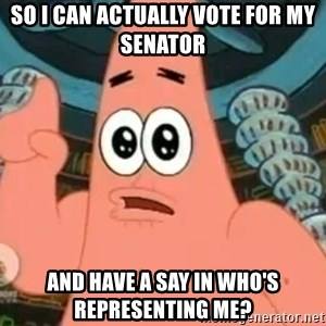 Patrick Says - So I can actually vote for my senator  and have a say in who's representing me?