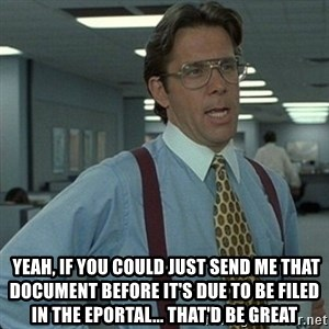 Yeah that'd be great... - Yeah, if you could just send me that document before it's due to be filed in the eportal... that'd be great
