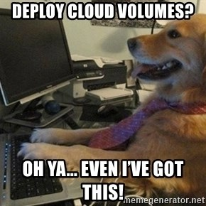 I have no idea what I'm doing - Dog with Tie - Deploy Cloud Volumes?  Oh ya... even I've got this!