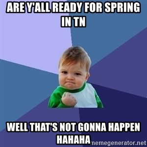 Success Kid - ARE Y'ALL READY FOR SPRING IN TN WELL THAT'S NOT GONNA HAPPEN HAHAHA