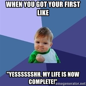 "Success Kid - when you got your first like ""yesssssshh, my life is now complete!"""