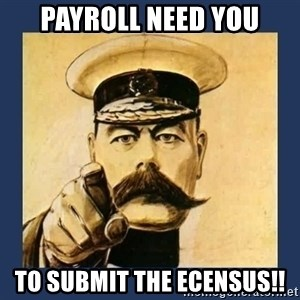 your country needs you - Payroll need YOU to submit the ECENSUS!!
