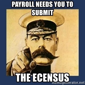your country needs you - Payroll needs you to submit  the ecensus