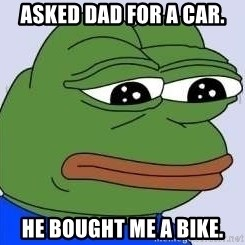 Sad Frog Color - ASKED DAD FOR A CAR. HE BOUGHT ME A BIKE.