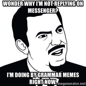 Are you serious face  - Wonder why I'm not replying on Messenger?  I'm doing by grammar memes right now.