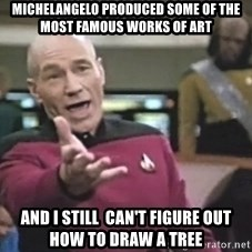 Captain Picard - Michelangelo produced some of the most famous works of art and I still  can't figure out how to draw a tree