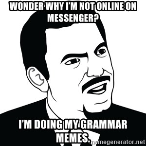 Are you serious face  - Wonder why I'm not online on Messenger? I'm doing my grammar memes.
