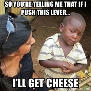 Skeptical 3rd World Kid - So you're telling me that if I push this lever... I'll get cheese