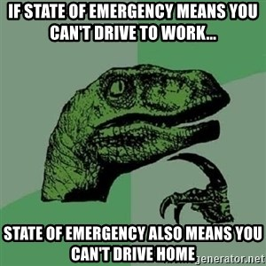 Philosoraptor - If State Of Emergency means you can't drive to work... State Of Emergency also means you can't drive home
