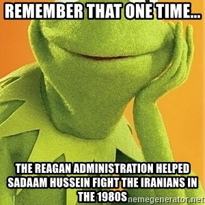 Kermit the frog - REMEMBER THAT ONE TIME... THE REAGAN ADMINISTRATION HELPED SADAAM HUSSEIN FIGHT THE IRANIANS IN THE 1980s