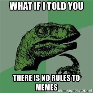 Philosoraptor - what if i told you  there is no rules to memes