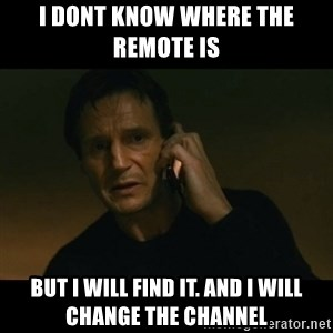 liam neeson taken - i dont know where the remote is  but i will find it. and i will change the channel