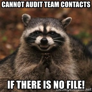 evil raccoon - Cannot Audit Team Contacts If there is no file!