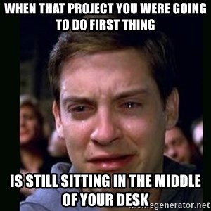 crying peter parker - When that project you were going to do first thing is still sitting in the middle of your desk