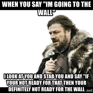 "Winter is Coming - When you say ""im going to the wall"" I look at you and stab you and say ""if your not ready for that then your definitely not ready for the wall"