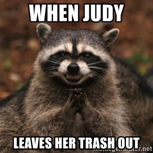 evil raccoon - When Judy  Leaves Her Trash Out