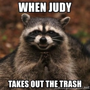 evil raccoon - When judy Takes out the trash
