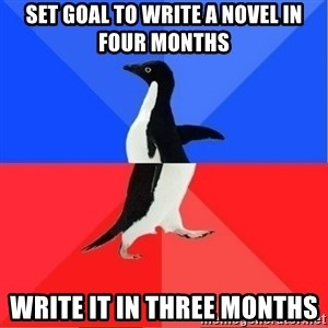 Socially Awkward to Awesome Penguin - Set goal to write a novel in four months write it in three months