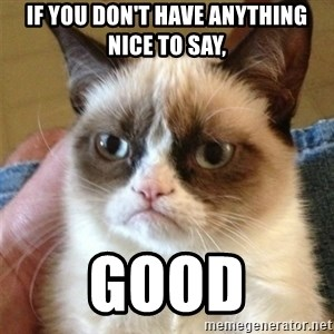 Grumpy Cat  - if you don't have anything nice to say, good