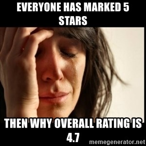 First World Problems - Everyone has marked 5 stars then why overall rating is 4.7