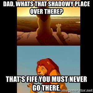 Lion King Shadowy Place - Dad, Whats that shadowy place over there? That's fife you must never go there.