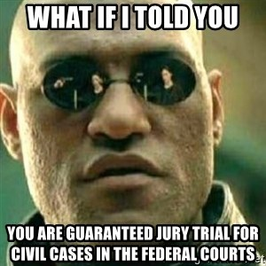 What If I Told You - What if i told you You are guaranteed jury trial for civil cases in the federal courts