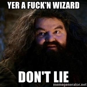 Yer A Wizard Harry Hagrid - Yer A fuck'n wizard  don't lie
