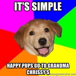 Advice Dog - It's simple Happy Pups go to Grandma Chrissy's