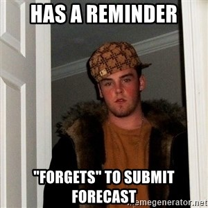 "Scumbag Steve - has a reminder ""forgets"" to submit forecast"