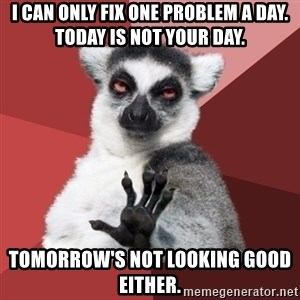 Chill Out Lemur - I can only fix one problem a day.  Today is not your day. Tomorrow's not looking good either.
