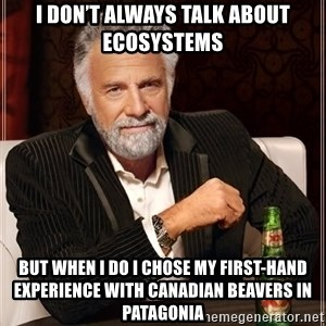 The Most Interesting Man In The World - I don't always talk about ecosystems  But when I do I chose my first-hand experience with Canadian beavers in Patagonia
