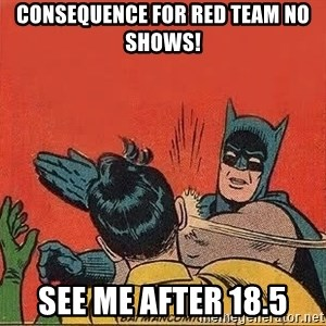 batman slap robin - Consequence for Red Team no shows! See me after 18.5