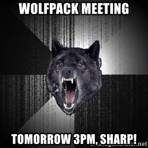 Insanity Wolf - Wolfpack Meeting Tomorrow 3pm, sharp!