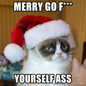 Grumpy Cat Santa Hat - Merry go f*** Yourself ass