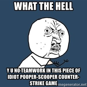 Y U No - WHAT THE HELL Y U NO TEAMWORK IN THIS PIECE OF IDIOT POOPER-SCOOPER COUNTER-STRIKE GAME
