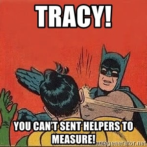 batman slap robin - Tracy! You can't sent helpers to measure!