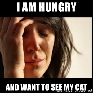 First World Problems - i am hungry and want to see my cat