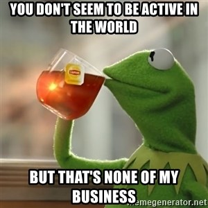 Kermit The Frog Drinking Tea - You don't seem to be active in the world but that's none of my business