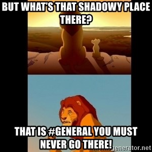 Lion King Shadowy Place - but what's that shadowy place there? That is #General you must never go there!
