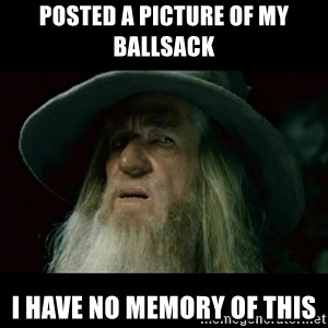no memory gandalf - Posted a picture of my ballsack I have no memory of this