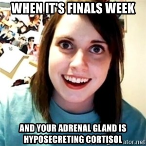Overly Obsessed Girlfriend - When it's finals week And your adrenal gland is hyposecreting cortisol
