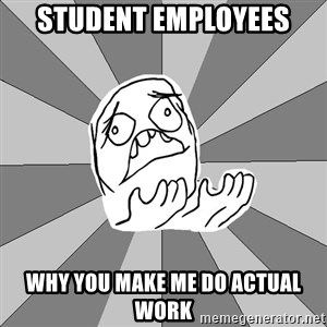 Whyyy??? - student employees why you make me do actual work